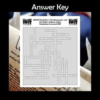 APUSH World War I & The Roaring 20s Vocabulary Review Crossword