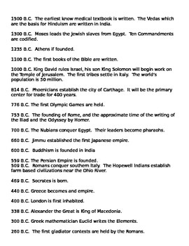 """AP U.S. World History """"A Brief History of the World"""" Handout"""