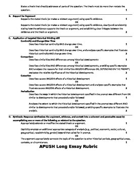 AP United States History Redesign 2014-2015 Essay Rubrics