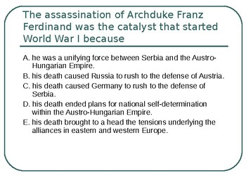 AP WWI: Questions on the Great War