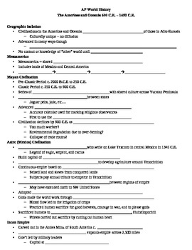 AP World History Americas and Oceania Guided Notes Outline