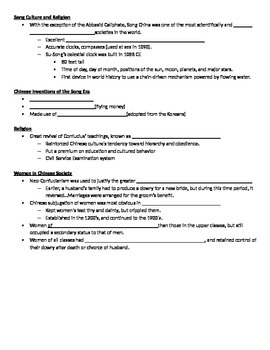 AP World History:  China 600CE-1450CE Notes Student Outline