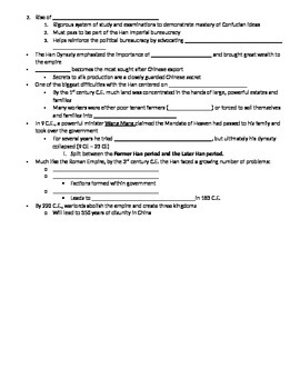 AP World History Classical China Notes Student Outline