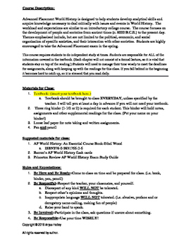 AP World History Classroom Rules,Student Writing Sample