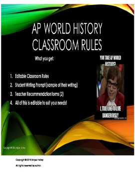 AP World History Classroom Rules,Student Writing Sample