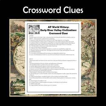 AP World History Early River Valley Civilizations Crossword APWH