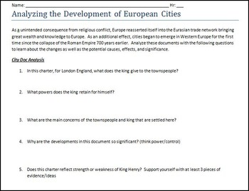 AP World History:  European Medieval Urban Development Primary Account Analysis
