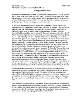 AP World History Period 2 Lesson on Comparing Slavery in Rome & Pre-Civil War US