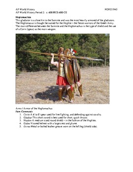AP World History Period 2 Lesson on Gladiators and Gladiatorial Games Activity