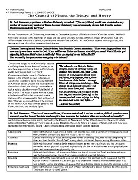 AP World History Period 2 Lesson on Legacy of Constantine & Church Activity