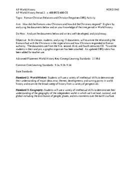 AP World History Period 2 Lesson on Roman-Christian Relations DBQ Activity