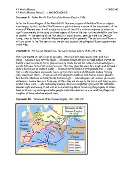 AP World History Period 2 Lesson on The Fall of the Roman Empire DBQ Activity