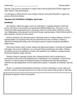 AP World History Religious Tolerance Debate (Unit 4)