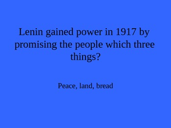 AP World History: Russian Revolution Jeopardy PowerPoint Review