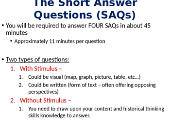 AP World History SAQ Short Answer Questions Introduction Lesson