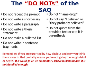 AP World History SAQ (Short Answer Questions) Introduction Lesson