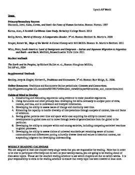 AP World History Syllabus Exemplar