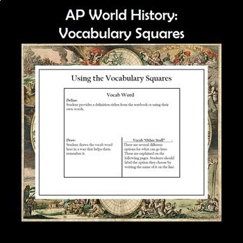 AP World History Vocabulary Squares Bundle for the Entire Year APWH