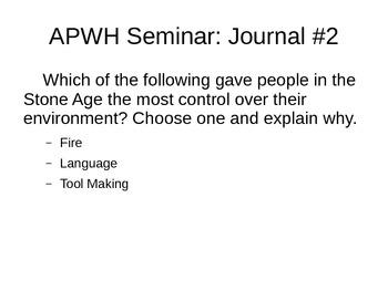 AP World History Warm-Ups/Drills/Journals Semester A