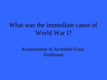 AP World History: World War I Jeopardy PowerPoint Review