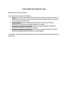 AP World Period 3 (600-1450 CE) Practice LEQs (2017 Rubric)