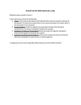 AP World Period 5 (1750-1900 CE) Practice LEQs
