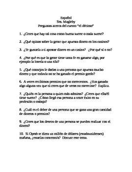 "AP ""el décimo"" laboratory speaking exercise"