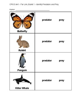 APA - CPI5.5.4A1 - Far Link, Bullet 1 - Identify Predators and Prey