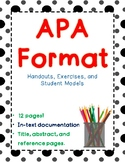 APA Format - 3 Exercises, 12 pages! In-text documentation, reference, abstract