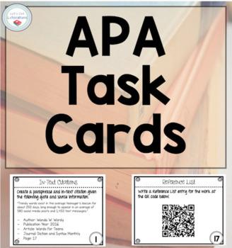 APA Format Task Cards