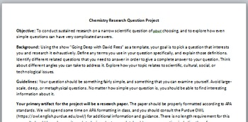 "APA ""Going Deep"" Science Research Project"