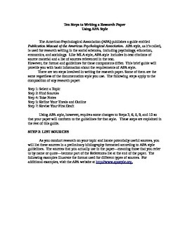 APA Guide for writing a research paper