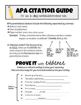 APA Parenthetical Citation Guide Student Handout