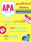 APA Parenthetical Citations Formatting Poster Set (Bright)