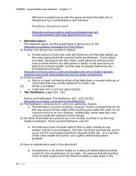 AP Art History Greece Homework - ANSWERS