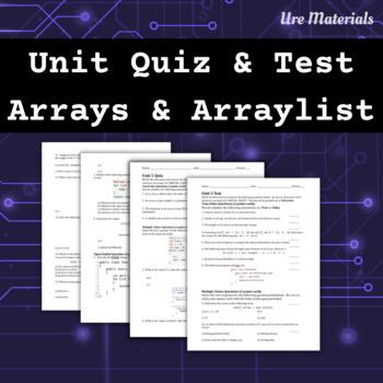 APCS Unit 5 Quiz and Test on Arrays/ArrayList