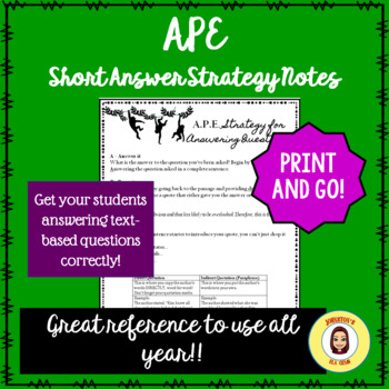 APE Short Answer Strategy for Text-based Questions- Middle School