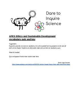 APES Ethics and Sustainable Development Vocabulary Quiz and key