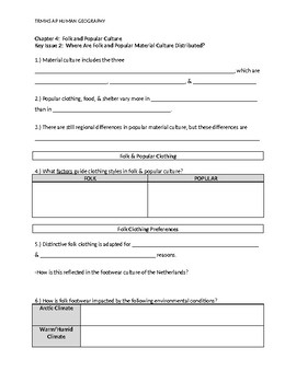 APHG The Cultural Landscape 11th Edition - Ch4 KI2 Guided Reading Notes