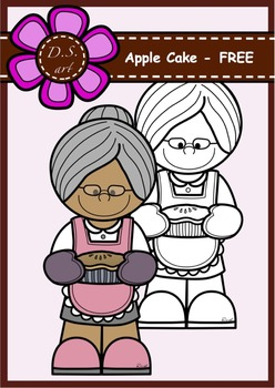 APPLE CAKE - FREE Digital Clipart (color and black&white)