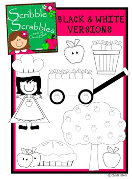 APPLE CLIP ART with black and white versions