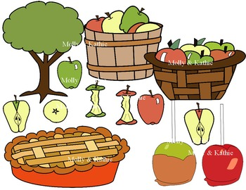 APPLE CLIP ART * COLOR & BLACK AND WHITE * with Kathie and Erika