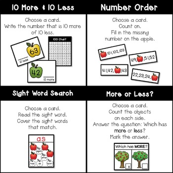 FIRST GRADE Task Cards - Apples