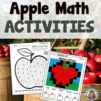 Numbers 1-6 APPLE Math Roll and Dot - Fall Fun by Teacher's Brain