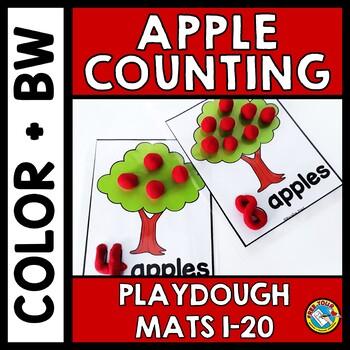 APPLE PLAYDOUGH MATS 1-20 (FALL MATH CENTERS) KINDERGARTEN APPLE THEME COUNTING
