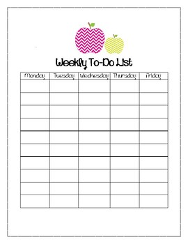 APPLE Themed Weekly To-Do List