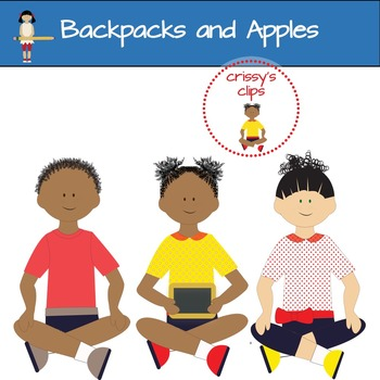 APPLES AND BACKPACKS Back to school clipart