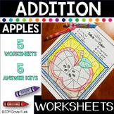 APPLES Addition Color by Number Worksheets Math Johnny Appleseed
