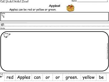 APPLES ~ Cut, Paste, Write, Draw! Scrambled Sentences