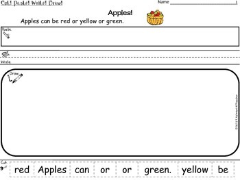 APPLES ~ Cut, Paste, Write, Draw! Scrambled Sentences